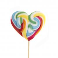 Rainbow Heart Lollipop 100gr, 10 Pieces