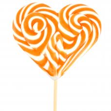 Orange heart Lollipop 200gr, 6 Pieces