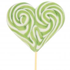 Green Heart Lollipop 200gr, 6 Pieces