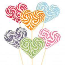 Mix Monocolor Heart Lollipop 200gr, 6 Pieces