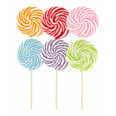 Mix Monocolor Round Lollipop 200gr, 6 Pieces
