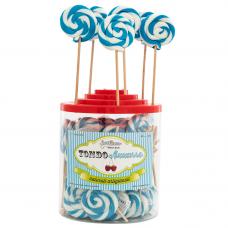Light Blue Round Lollipop 25gr, 50 Pieces