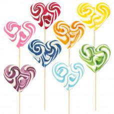 Mix Monocolor Heart Lollipop 50gr, 10 Pieces